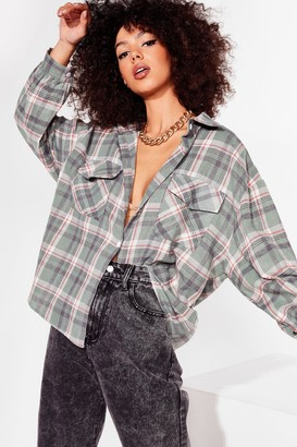 Nasty Gal Womens Out of Line Oversized Check Shirt - Sage