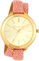 MICHAEL Michael Kors 42mm Slim Runway Wrap Watch w/ Leather Strap, Gold/Pink