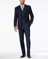 MICHAEL Michael Kors Men's Classic-Fit Navy Windowpane Plaid Vested Suit
