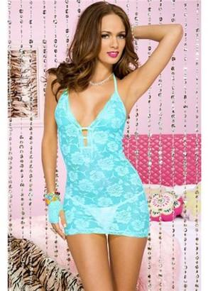 Music Legs Halter lace mini dress 56117-WHITE