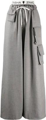 Natasha Zinko Oversized Houndstooth-Print Trousers