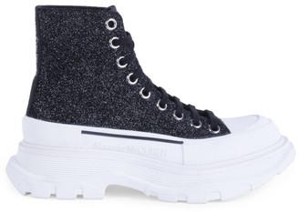 Alexander McQueen Women's Lug-Sole High-Top Glitter Leather Sneakers