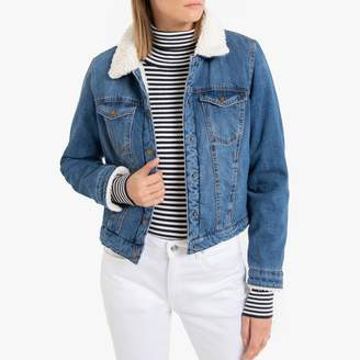 Only Denim Jacket with Faux Sheepskin Lining and Pockets