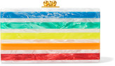 Edie Parker Jean Striped Acrylic Clutch - White