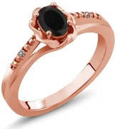 Gem Stone King 0.40 Ct Oval Black Onyx White Diamond 18K Rose Gold Plated Silver Ring