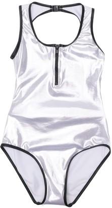 Zipped Metallic Swimsuit