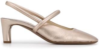 Del Carlo Metallic Low Heel Pumps