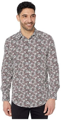 Perry Ellis Floral Paisley Print Stretch Long Sleeve Button-Down Shirt (Bright White) Men's Clothing