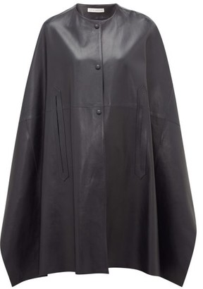Inès & Marèchal Gunter Leather Cape - Womens - Navy