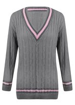 Outofgas Womens Ladies Cable Knit V Neck Long Stretch Onesize Cricket Jumper Pullover Top - - (100% Acrylic)