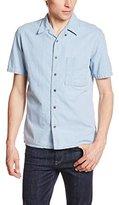 Nudie Jeans Men's Brandon Heavy Worn In Denim Short Sleeve Button Down Shirt