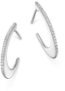 Bloomingdale's Pave Diamond Oval Hoop Earrings in 14K White Gold, 0.10 ct. t.w. - 100% Exclusive