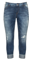 Silver Jeans Plus Size Distressed straight cut turn-up jeans