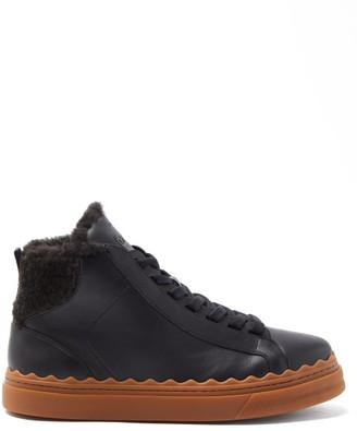 Chloé Lauren High-top Shearling-lined Leather Trainers - Black