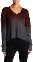 Go Couture V-Neck Side Slit Print Sweater