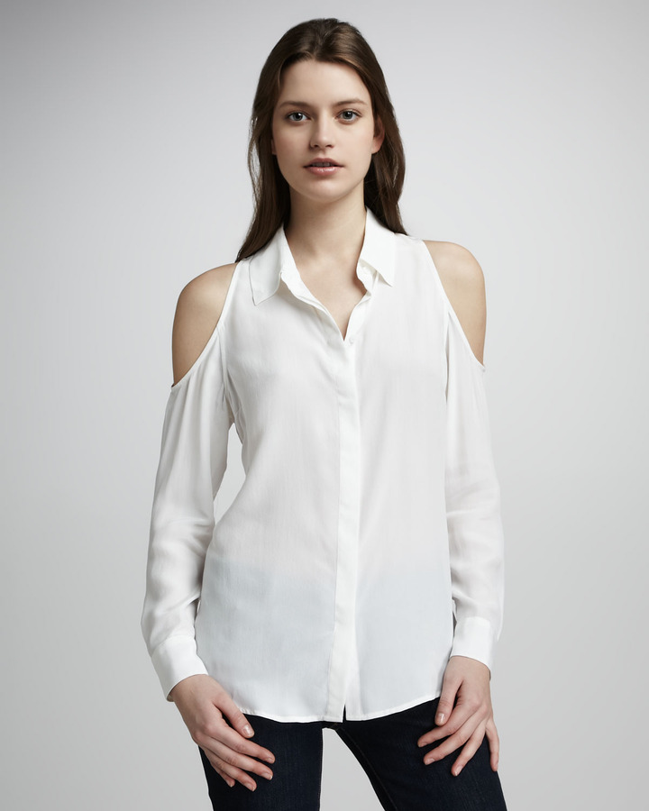 Equipment Nixie Cold-Shoulder Blouse