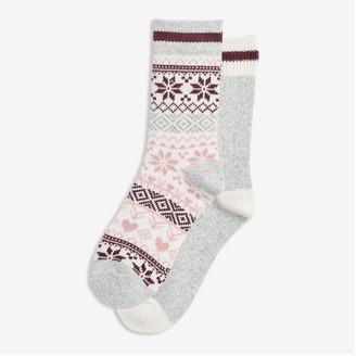 Joe Fresh Women's 2 Pack Rib Cuff Socks, Grey (Size O/S)