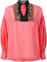Etro gathered longsleeves shift blouse - women - Silk/Viscose/Cotton/Metallic Fibre - 42
