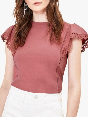 Oasis Broderie Ruffle Top, Dusty Pink
