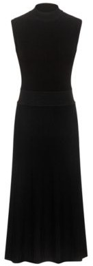 HUGO BOSS Mock Neck Knitted Dress With Textured Ribs - Black