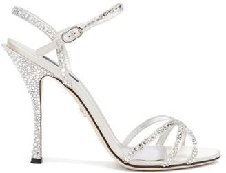Dolce & Gabbana Crystal-embellished Leather Sandals - Silver