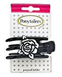 Mia Ponytailers Ponytail Holder Model No. 00950 - Black with White Rose