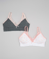 Laura Ashley Pink Shells & Heather Gray Seamless Bra Set - Girls