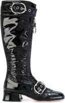 Miu Miu buckled zip front boots