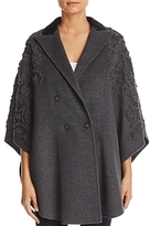 Elie Tahari Elsy Embellished Wool Cape