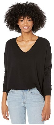 Majestic Filatures French Terry Long Sleeve Drop Shoulder V-Neck Tee (Noir) Women's T Shirt
