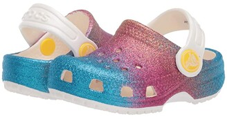 Crocs Classic Ombre Glitter Clog (Toddler/Little Kid/Big Kid) (Oyster/Multi) Girl's Shoes