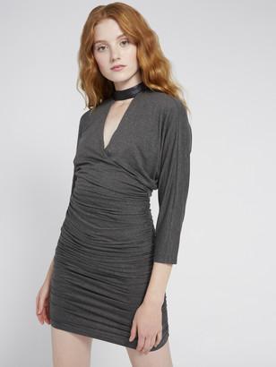 Alice + Olivia Pace Leather Collar Mini Dress