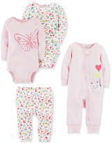 Carter's 4-Pc. Cotton Balloons Coverall, Bodysuits & Pants Set, Baby Girls