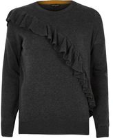 River Island Womens Dark grey asymmetric frill sweater