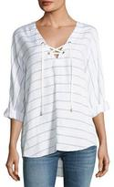 Rails Lily Striped Long-Sleeve Linen-Blend Top