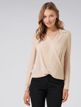 Forever New Clair Camp Collar Wrap Blouse - Rose Smoke - 4