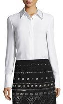 St. John Heavy Georgette Sequined-Collar Blouse, White