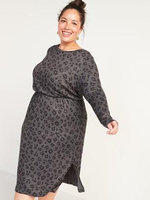 Old Navy Cozy Plush-Knit Waist-Defined Plus-Size Midi Dress