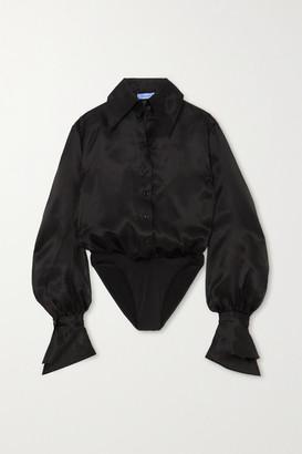 Thierry Mugler Silk-organza Bodysuit - Black