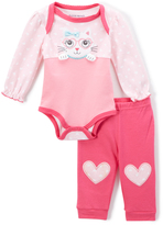 Buster Brown Pink & Fuchsia Kitty Bodysuit & Jogger - Infant