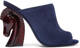 Tory Burch Barton Suede Mules - Navy