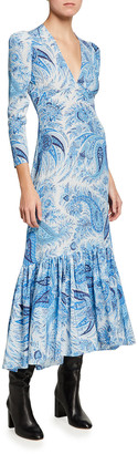 Etro Paisley Print High-Low Ruffle Midi Dress