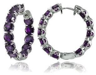 Glitzy Rocks Sterling Silver 5mm Gemstone Hoop Earrings