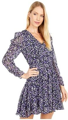 ASTR the Label Desiree Dress (Navy/Purple Multi Floral) Women's Clothing