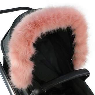 For-Your-Little-One Fur Hood Trim Pram Compatible on Neonato, Dark Grey