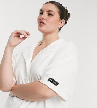 Public Desire Curve towelling pyjama shirt co-ord in off