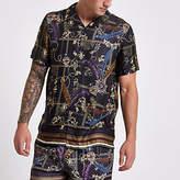 Mens Black gold print short sleeve shirt