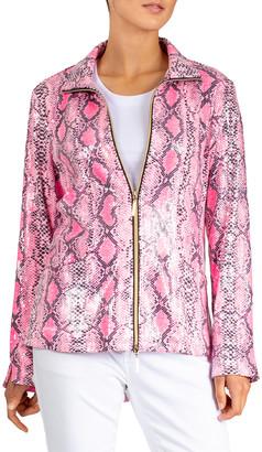 Berek Women's Non-Denim Casual Jackets Pink - Pink Snake Print Sparkle Zip-Up Jacket - Women