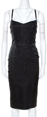Dolce & Gabbana Black Satin Lace Trim Sleeveless Sheath Dress M