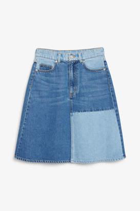 Monki Colour block denim skirt